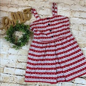 Hanna Andersson Red White Blue Jumper Dress NWT 8